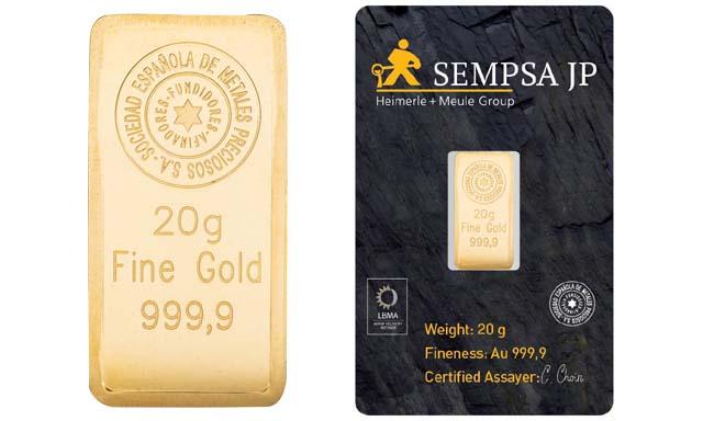 Lingote de oro 20 gramos