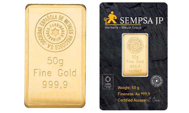 Lingote de oro 50 gramos